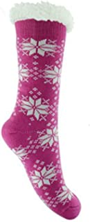 Mujer Grueso Térmico punto mullido forro polar Fairisle Calcetines Pantufla - Rosa, UK 4-7 EUR 37-41