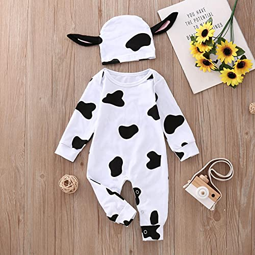 GONGting Newborn Unisex Kids Baby Halloween Costumes Cartoon Outfit Homewear T-Shirt+ Pants Hat Cow Outfits (White A-4, 0-3 Months)