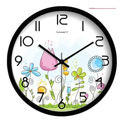 PX Glocke-Wanduhr Metall Genaue Kreative Uhren Metall Stumm Wohnzimmer Uhr Hängen Tisch Quarzuhr Continental Pastoral 1 X Aa Batterie (Nicht Enthalten),14 Zoll,Weiße Grenze