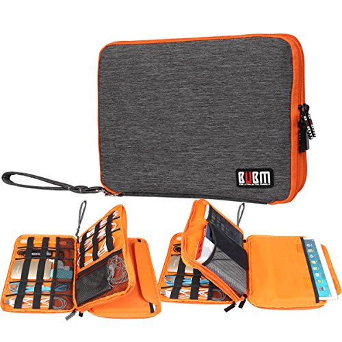 BUBM Big Travel Office Cable Organizer Electronics Accessories Case for 9.7 inch ipad pro Various USB, Phone, Charger and Cable (Gray)
