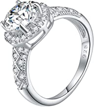 Lavencious 925 Sterling Silver Rhodium Plated with Round AAA CZ Engagement Rings for Women Size 6-9