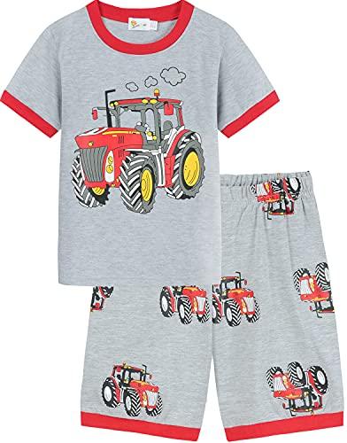 EULLA Jungen Schlafanzug Kurz Sommer Feuerwehrauto Bagger Dinosaurier Kinder Pyjamas Nachtwäsche Kinderkleidung Set 6# Traktor DE 92