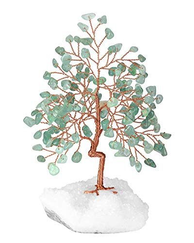 CrystalTears Natural Green Aventurine Crystal Tree Copper Wire Wrapped on Rock Quartz Crystal Cluster Base Money Tree Feng Shui Crystal Figurine for Wealth Good Luck Reiki Healing Home Decor 5.5'-6.3'