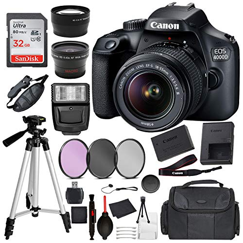 Canon EOS 4000D (Rebel T100) Digital SLR Camera w/ 18-55mm DC III Lens Essential Accessory Bundle Kit Package Deal Includes: SanDisk 32gb Card + DSLR Bag + 50'' Tripod + More [1 Year Seller Warranty]