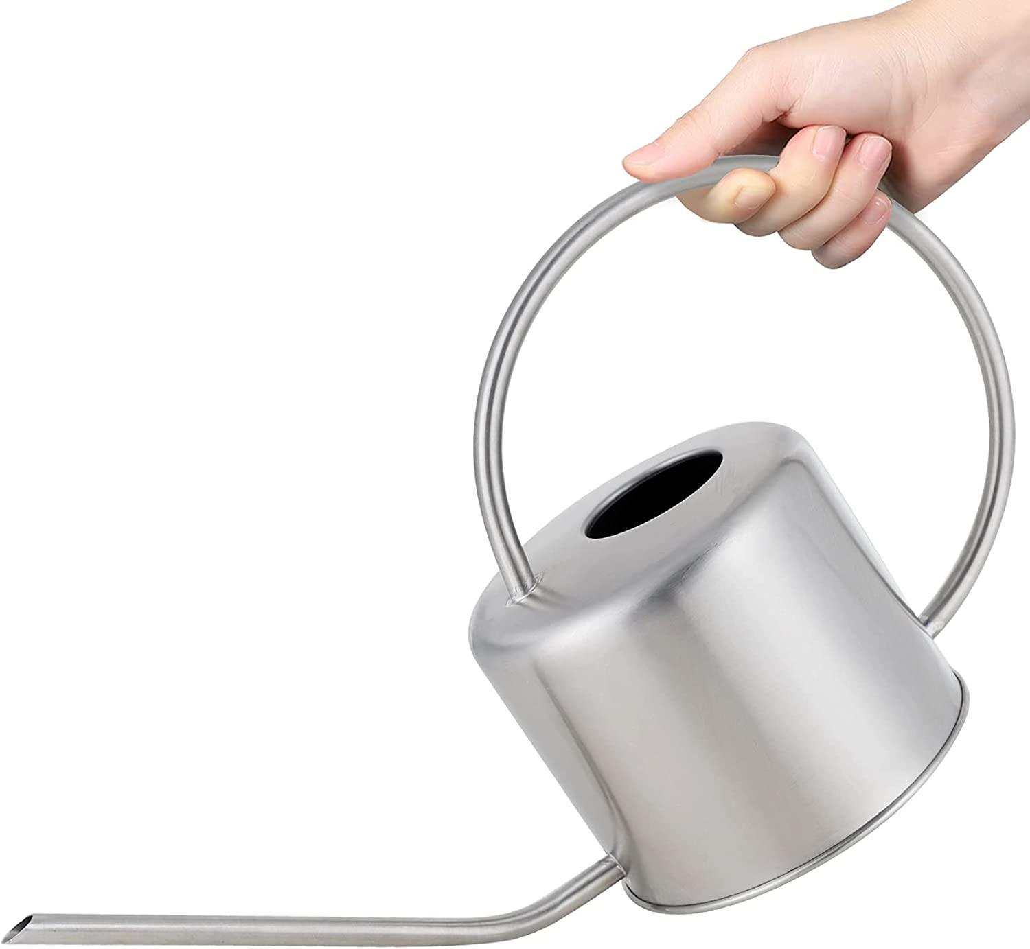 Long Spout Watering Can Nordic Style Brushed Stainless Steel Plant Watering Pot for Indoor and Outdoor Garden House Flower Bonsai Plant (40oz/1300ml) (Silver)