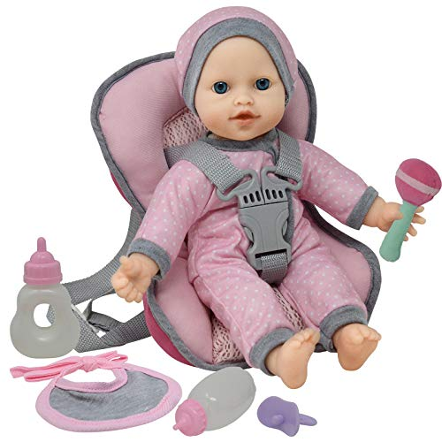 Doll Travel PlaySet - Baby Doll Car Seat Carrier Backpack with 12 Inch Soft Body Doll Includes Doll Bottles and Toy Accessories … (Caucasian)