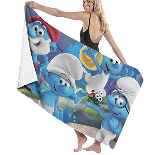 Custom made Toalla de baño The Smurfs, extragrande, 80 x 130 cm, suave, muy absorbente, ideal para viajes diarios, camping, gimnasio, piscina, sillas de playa, tamaño único