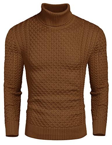 COOFANDY Men's Slim Fit Turtleneck Sweater Casual Knitted Twisted Pullover Solid Sweaters (Brown, X_Large)