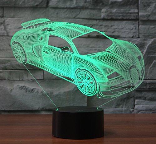 Sportwagen Hologramm 3d Lampe Nachttischlampe, Nachtlicht fürs Kinderzimmer, LED Lampe fürs Wohnzimmer