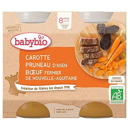 Babybio Petits Pots Carotte Pruneau dAgen Bœuf Fermier de Nouvelle Aquitaine 2x200 g - 8+ Mois - BIO