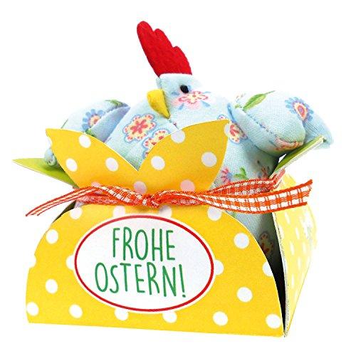 STEINBECK Huhn Stoffhuhn Blumen 8 cm in Geschenkverpackung Hühner Ostern Geschenk Osternest Ostergeschenk Tischdeko