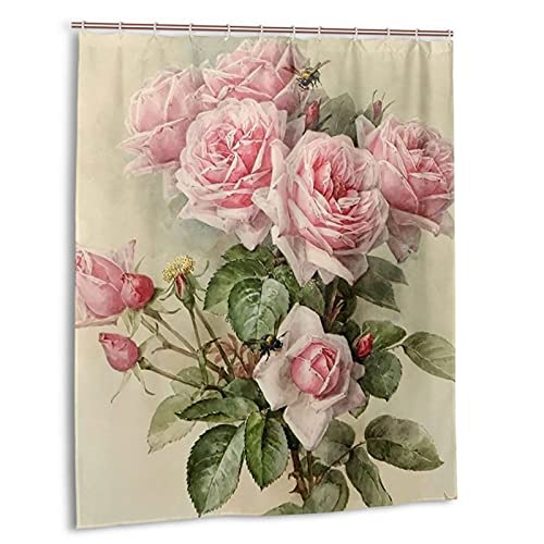 Emkoie Vintage Shabby Chic Pink Rose Floral Fabric Shower Curtain Bathroom Curtains with 12 Hooks Waterproof Shower Curtains 60×72 Inches