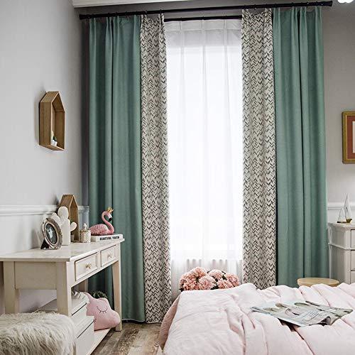 SODKK Schlafzimmer Gardinen Isolierende Gardine, Geräuschreduzierung 1er-Pack für Schlafzimmer Kinderzimmer Wohnzimmer - 180x260cm Hellgrüne und beige Geometrie