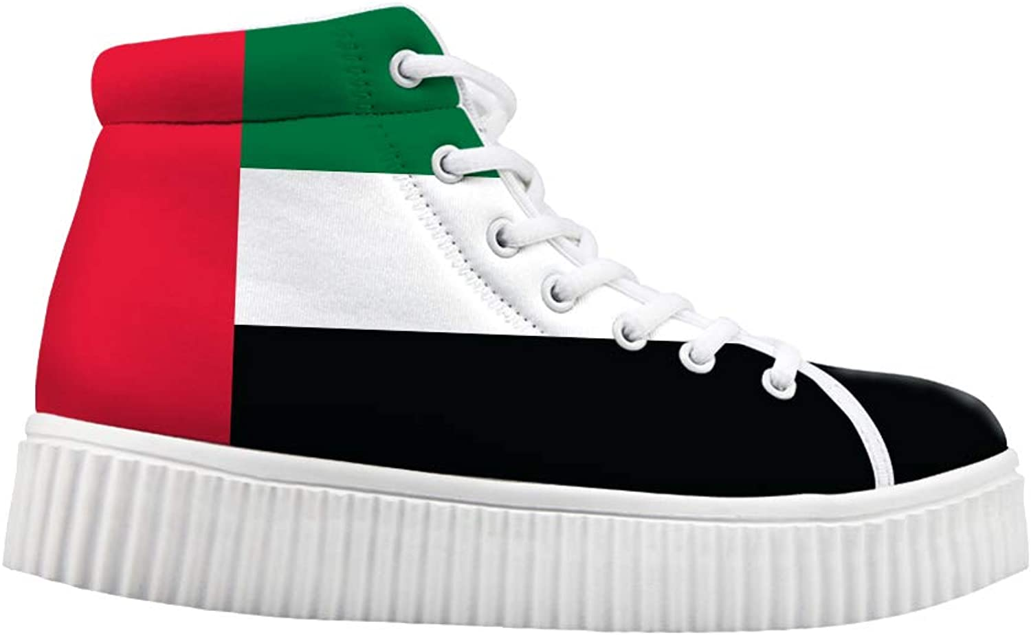 Owaheson Platform Lace up Sneaker Casual Chunky Walking shoes High Top Women United Arab Emirates Flag