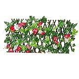 sevenjuly Retráctil Enrejado Valla Valla La expansión de cribado con Hojas Artificiales Rojos del Narciso por un Patio Trasero de la decoración, Valla Decorativo