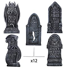Give your yard a haunting appearance with these lightweight and easy to move foam tombstones 5 different spooky and unique designs for horror ambiance, with realistic stone to complete the grim look. Perfect for any scary situation from yard decorati...