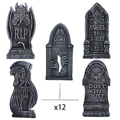 JOYIN 5 Stück 43cm Halloween Schaumstoff RIP Friedhof Grabsteine, Grabstein Dekorationen und 12 Metall Bodenspitze für Halloween Garten Dekoration