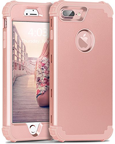 BENTOBEN iPhone 7 Plus Funda, iPhone 8 Plus Funda,3 en 1 Carcasa Combinada PC Dura y Silicona TPU Fuerte Resistente PC Bumper Antigolpes Cover Case Protectora Fundas para iPhone 7 Plus/8 Plus 5.5''