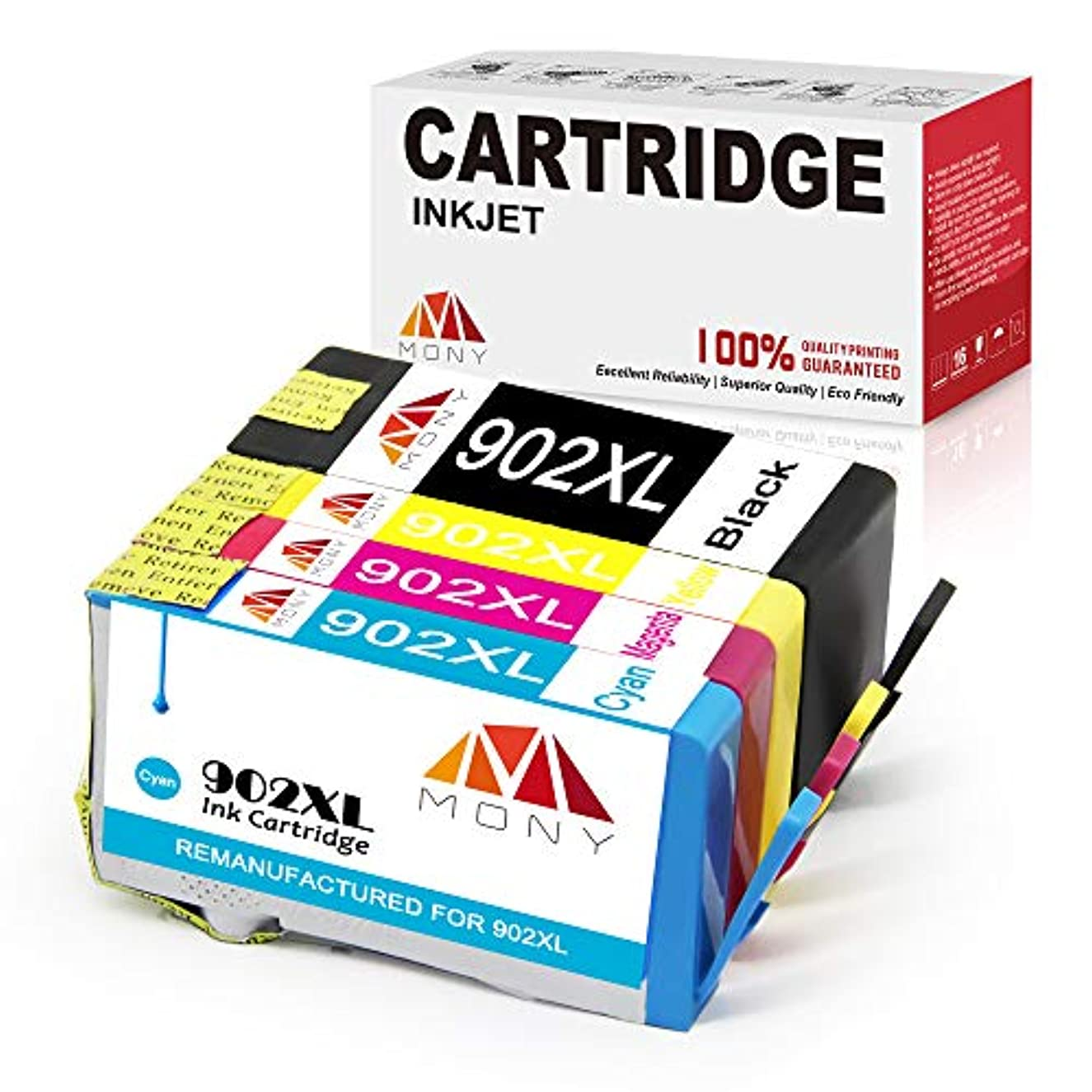 Mony Remanufactured HP 902XL 902 XL Ink Cartridges with New Updated Chip (1 Black, 1 Cyan, 1 Magenta, 1 Yellow) Replacement for HP Officejet Pro 6958 6978 6968 6962 6975 6970 6060 6954 6951 Printers