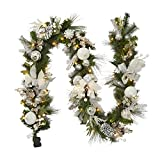 Adeeing Christmas Garland with Lights, 9 ft Pre-lit Silver White Christmas Garland with Ball Ornaments Holly Leaves Battery Operated Lights for Outdoor Home Holiday Party Decor