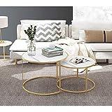 Mesas de centro para sala de estar, mesas de metal dorado, mesa redonda moderna para sofá, color blanco
