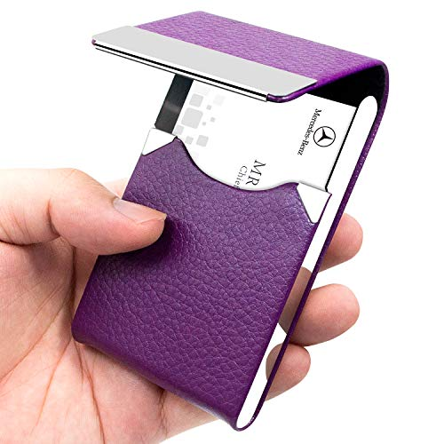 Padike PU Leather Business Card Holder for Women Slim Pocket Business Name Card Holder Stainless Steel Business Card Case with Magnetic Shut (Purple)