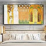 KWzEQ Arte Abstracto Pintura al óleo sobre Lienzo Pintura al óleo póster Pared para Sala de Estar,Pintura sin Marco,75x150cm