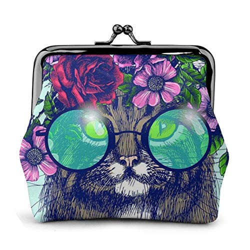 Coin Purse Cat Wearing Glasses Flower Garland And Butterfly Wallet Buckle Leather Travel Makeup Change Purse Women Gift
