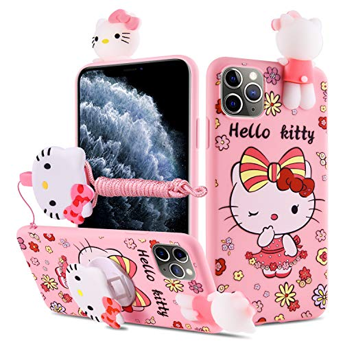 HikerClub Galaxy A71 Case Hello Kitty 3D Cartoon Case with Pop Out Phone Stand Grip Holder and Detachable Long Lanyard Neck Strap Band Soft Lovely Case for Children Kids Girls (Hello Kitty, A71)