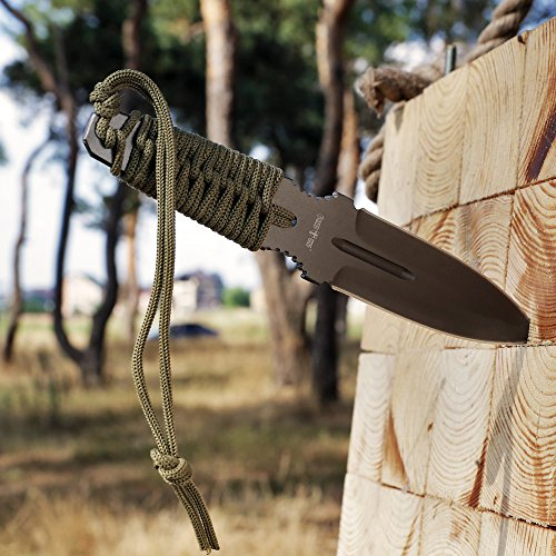 Grand Way Throwing Ninja Knife Paracord Handle - Real Fixed Blade Stainless Steel Tactical Full Tang Balanced Single Knives - Throw Boot Practice Knife Khaki Olive Color FL 15873