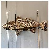 Soporte de pared para caña de pescar de madera de 1/2 piezas, para pesca de madera con boca grande, lubina roja, salmón, para padres/hombre, regalo...