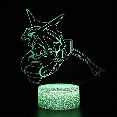 Rayquaza - Luz de noche 3D para niños, 16 colores cambiantes acrílico LED noche luz para niños niñas cumpleaños o vacaciones regalo