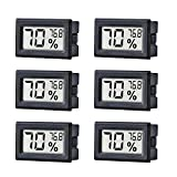 TAIWEI 6 Pack Mini Small Digital Electronic Temperature Humidity Meters Gauge Indoor Therm...