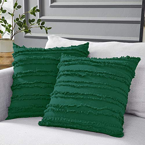 Longhui bedding Green Throw Pillow Covers for Couch Sofa Bed, Cotton Linen Decorative Pillows Cushion Covers, 18x 18 inches, Set of 2