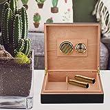 Caja de puros de madera con sistema de humidificación para un regalo perfecto portátil(black)