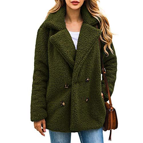 Chinkyo Damenmantel aus Wollfleece, warm, große Größe, Cardigan, Doppelknopfleiste, einfarbig, für Herbst Winter Frühling Gr. 50, grün