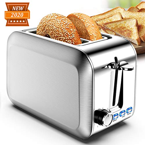 Toasters 2 slice Best Rated Prime Wide Slot Stainless Steel Silver Bagel 2 Slice Toaster with 7 Shade Settings & Removable Crumb Tray