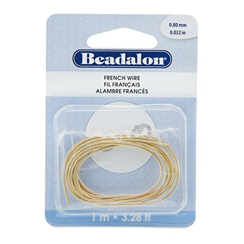 Beadalon French Wire 0.8mm Gold Color, 1-Meter