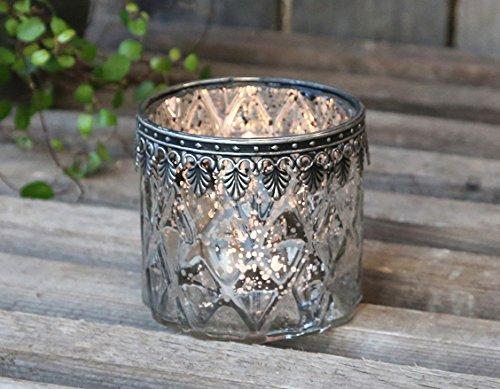 Teelichthalter Windlicht Kerzenglas groß Glas Bauernsilber Deko Landhaus Nostalgie Shabby French von Chic Antique