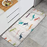 Alfombra de cocina, gecko abstracto colorido animal de dibujos...