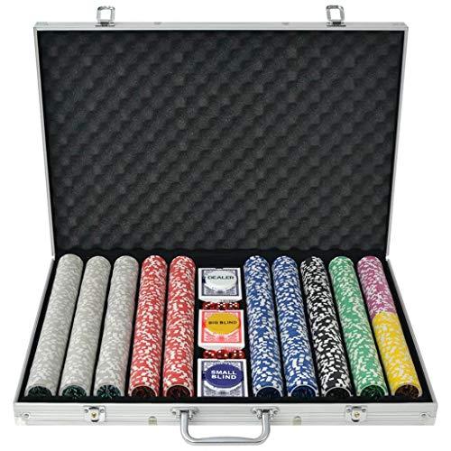vidaXL Set per Gioco Poker con 500/1000 Chips Fiches Laser Valigetta in Alluminio