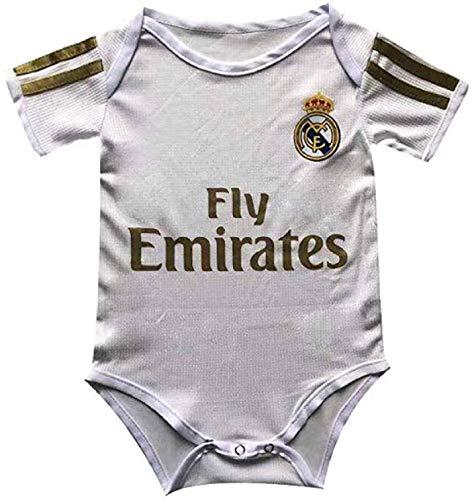 Sybabyt Baby Body mit Fußball-Fans Club Home and Away Soccer Baby Body Comfort Jumpsuit für 6-18 Monate Säugling und Kleinkind Jersey 6-12 Monate Real Madrid