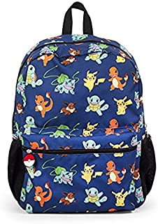 """Pokemon Pikachu and Characters Gotta Catch Em All 16"""" Backpack School Bag"""