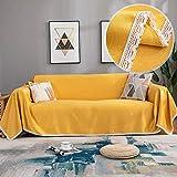 JBNJV Einfarbige Spitzen-Sofabezug, Universal-Sofabezug aus weichem Baumwollleinen, Dicker Sofa-Schutz, All-Inclusive-Sofatuch Four Seasons Yellow 90x90cm (35,4x35,4 Zoll)