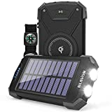 Solar Power Bank, Qi Portable Charger 10,000mAh External Battery Pack Type C Input Port Dual Flashlight, Compass, Solar Panel Charging(Black)
