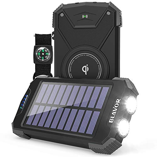Solar Power Bank, Qi Portable Charger 10,000mAh External Battery Pack Type C Input Port Dual Flashlight, Compass, Solar Panel Charging(Black)