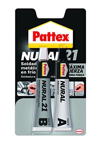 Pattex Nural 21, soldadura reparadora metálica en frío, pega&repara, 120 ml, blanco