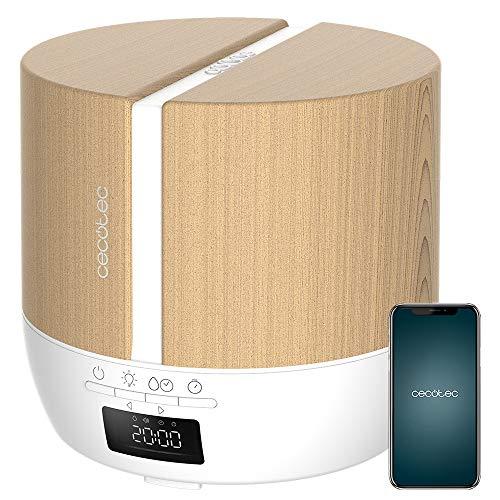 Cecotec Difusor de aromas PureAroma 550 Connected White Woody. Capacidad 500ml, Pantalla LED, Altavoz, Control por bluetooth, App, Temporizador 12h, 3 Modos de funcionamiento, Cobertura 30m2