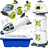 4-in-1 Space Toy Set: Space Shuttle, Space Capsule, Space Rover, Space Station, 3 Astronauts Figure, and Multi-Purpose Storage Bin, Spaceship Rocket Toys for Any Interstellar Mission Adventure