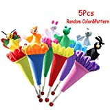 5 pcs Pop Up Cone Plush Puppets, Cute Animals Pop up Puppet Theater Telescopic Stick Rods Doll Fox Crow Bee Frog White Rabbit Gray Wolf Wooden Educational Toy by Sealive (Random Color)